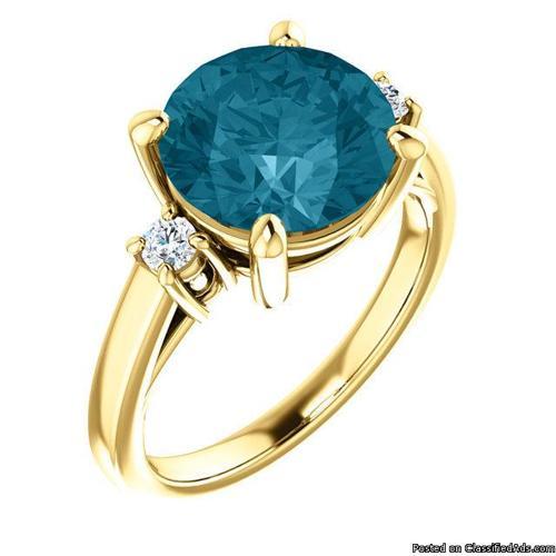14K Yellow gold Round Shape Genuine London Blue Topaz Ring 4.00ct (10mm)