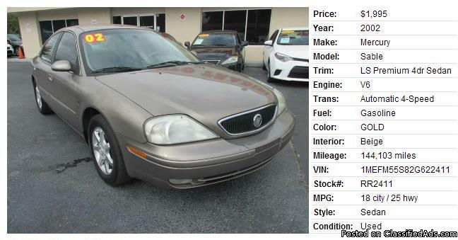 2002 Mercury Sable Sedan 4D LS Premium