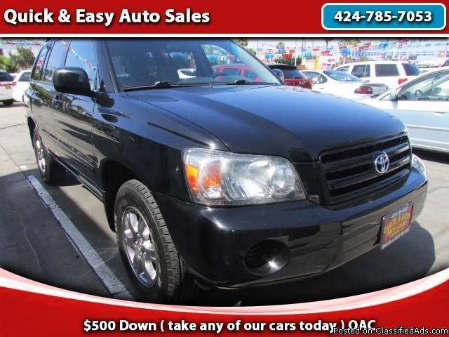 2004 Toyota Highlander !!Bad Credit?No problem!!We Finance Everyone!!! (As A Low As $499 Down!!$100%Approval!!)