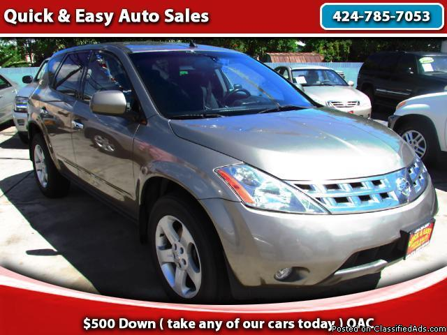 2005 Nissan Murano SL-Monthly payments as low as $199 And $499 Down!