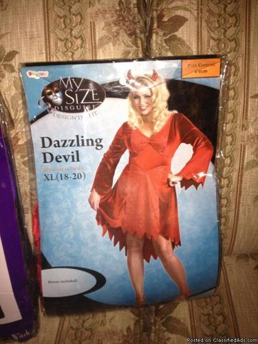Brand new Halloween costumes in original packages, prices from $35-$95, asking $20.00 each.