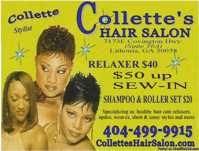 Collettes Hair Salon 50up Sew In Weave 40 Relaxer 20 Shampoo And