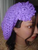 Crochet Neon Purple Fishnet Beret w/Flower - Price: $8.50