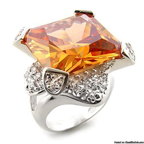 """Extravagant Princess Cut 30ct Champagne Solitaire with Accents Ring """"One of a Kind!"""" Size 7 - Price: $ 150.00"""