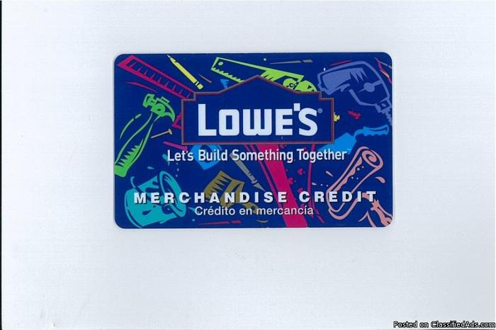 Gift Card Lowes Building Material worth $500