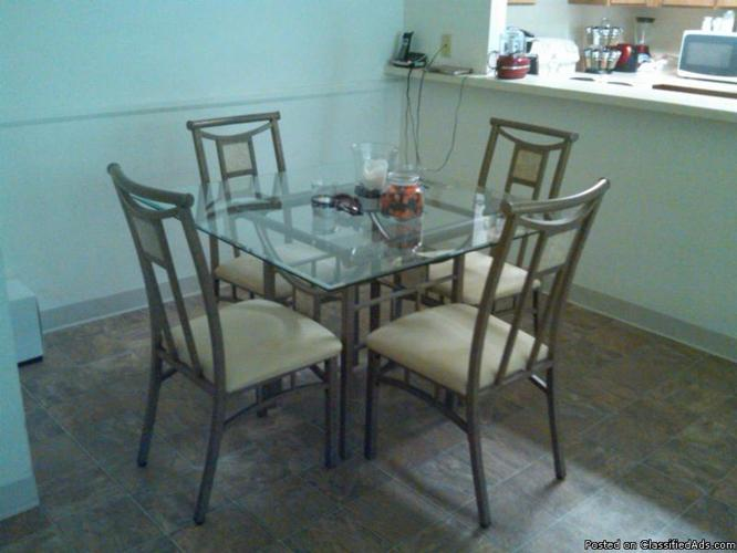 GLASS SQUARE DINING TABLE AND COFFEE TABLE - Price: $400.00