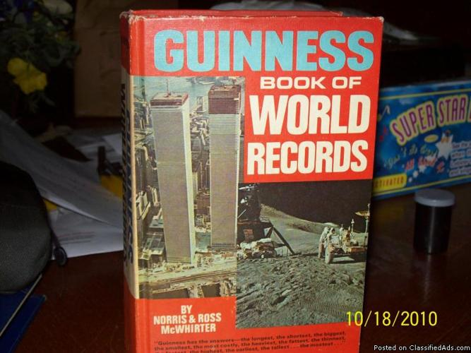 GUINNESS BOOK WORLD RECORDS 1972 - Price: $100.00