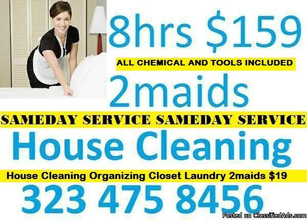 House Cleaning Services Sameday $19