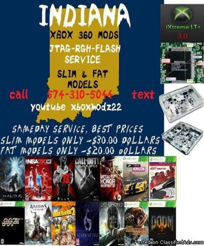 INDIANAMODS WE CAN FLASH YOUR XBOX 360 FAT MODEL OR SLIMS - Price: 25
