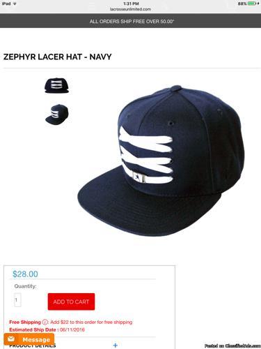 LACROSSE HAT, ZEPHYR LACER COLLECTION