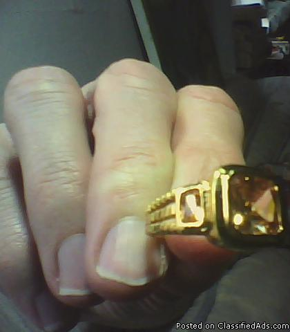 Men's Champagne Topaz, Yellow Gold Filled Ring