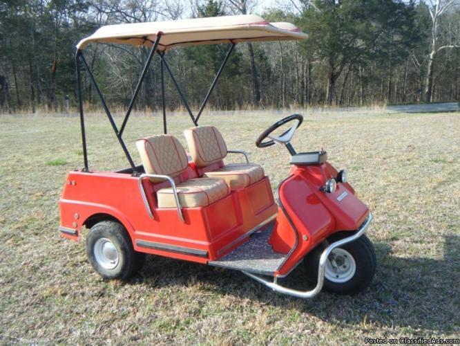Newly Restored Vintage Harley Davidson Golf Carts And Trailer