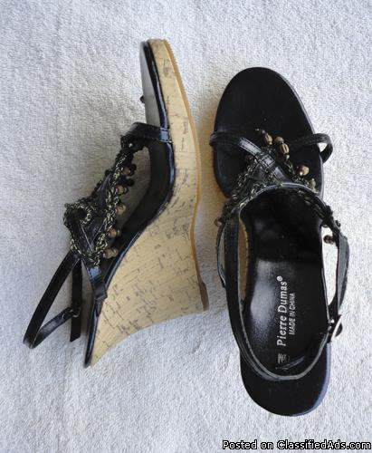 Pierre Dumas womens cork wedge black sandals
