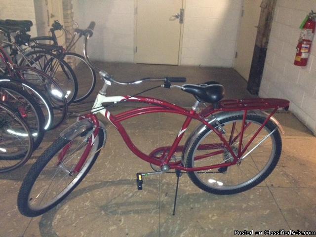 Schwinn Men's 26 Inch Beach Point 7 Speed Red/Cream Colored Bicycles