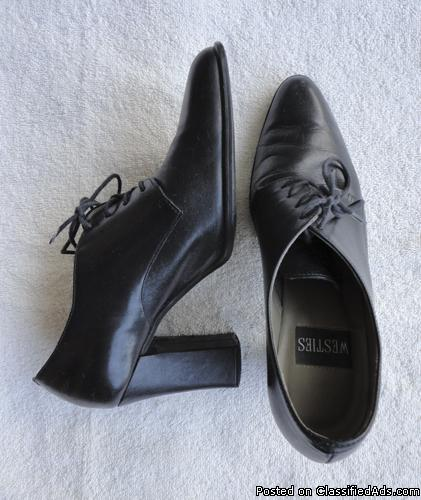 Westies black leather womens oxfords