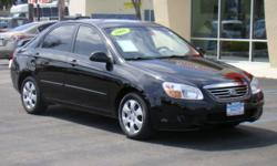 Jet black 2008 Kia Spectra LX, gas-saving 4 cylinder engine, 5-speed manual, air conditioning, CD, AM/FM stereo, 4 doors, rear spoiler, tinted windows, auxiliary port for iPod, only 66,xxx miles! Give Chris a call/send a text to 760-822-2010 or reply to