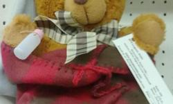 This Teddy Bear is so soft! Kids love to hold it, put their faces into it, play with it. He makes a great gift. He comes witha hat and blanket to wrap it up in. The blankets are good for the child to carry around