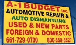 A-1 Budget Auto Repair & Junk Yard 42234 4th Street East Lancaster, California, 93535 (661) 729-0700 ? (800) 559-5527 http://www.lancasterjunkyard.com 10,000 engines and transmissions
