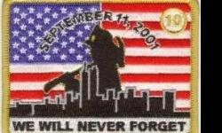 """10 Yr. Original 9/11 Patch- This patch is meant to go on a uniform shirt, job-shirt, jacket or turn-out coat. The patch has a very high stitch count and will not fade, shrink, run or shrivel up. This patch measures 2 1/2"""" X 3 5/8"""". This patch and other"""