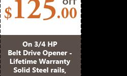 Atlanta Garage Door Specialists bring you an exciting offer of $125.00 off on 3/4 HP Belt Drive garage door opener. Hurry now to make an appointment at (844) 326-5541 and contact our technicians for details.