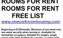 Newly renovated, clean,secure, quiet furnished or unfurnished rooms for rent in advantageous locales in and around Manhattan Private entry, full use of kitchen facilities, new carpet, near transit, cable TV and internet. Starting at $125 weekly. One week