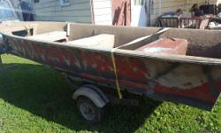 condition: fair length overall (LOA): 14 propulsion type: human 14 foot boat with trailer no title to both boat does float no leaks need gone, $400 or best offer