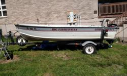 14 ft boat and trailer with built in live well and storage. Also 9.9 hp 2 stroke outboard and 55 lb. thrust 12v electric trolling motor and fish finder. All paper work in proper order.
