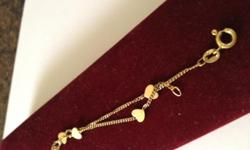 """WE have for sale 14 K Italian Yellow Gold Bracelet Hearts 71/2 """" Long 100% from Italy and Italien finegold I personally purchase the bracelet from Rome Italy 20 years ago I do not have the box Call for info 480-202-6064"""