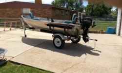 Nice aluminum boat with motor has fish finder and ready to go no texting call 8014256792