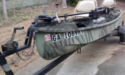 14Ft. Fishing Boat Same As Riverhawk,Gheenoe - $1895 (Atlanta) 14Ft. Fishing Fiberglass Boat Same As Riverhawk,Gheenoe Fishing and Duck Hunting Boat.HD Includes Trailer, MinnKota 35lb Bow Mount trolling motor (Hand Operated) (New Cover) 4hp Johnson