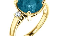 More about this item Product Description Size 9 A beautiful 14k Yellow gold ring with Round shape London Blue Topaz surrounded by sparkling round diamonds . The Topaz total weight is (4.00ct. t.w.) and Surrounding round diamonds total weight is (.12ct.