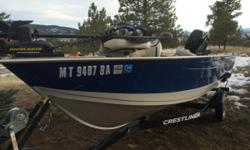 2013, 16? Crestliner Kodiak SC with 60HP Four Stroke Merc on Shorelinetrailer. Trolling motor, live well, rod holders, life jackets, 3 seats, dual battery charger, boat cover, transom saver, less than 20 hours, all excellent condition