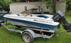 95 Larson 16ft With a 95 Johnson 88 outboard with Trailer. Trailer is in good shape, and all electronics and controls work. Comes with a full boat cover. Hull is 100%. It just needs a little wood work for the floor which could be done in a day. Fun
