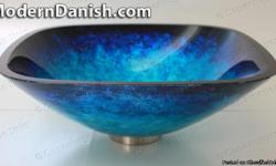 Energize your bathroom decor with this 17mm Extra thick tempered glass vessel sink. The outside finish is hand painted and foiled. Cobalt Two Tone Blue Square Glass Vessel Sink Designer Series Dimensions: - 16.5 in Diameter - 5.5 in Height - 19 in Corner