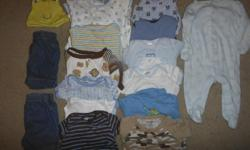 17 pieces of never/gently used 3-6 month boys clothing. Smoke and pet free home. Includes: 1 footed PJ sleeper 12 onsies 1 footless PJ sleeper 2 jean shorts 1 frog hat Any questions/more pictures e-mail or text me anytime --. Thanks!