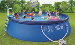 """Product Description Intex 18' x 48"""" Easy Set Pool includes pool, video, 19' square ground cloth, pool cover, ladder, and maintenance kit. Easy assembly - no tools required for pool. (ladder requires a screwdriver for assembly) Super-Tough sidewalls are"""