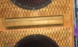 Subwoofer dual speakers, in wooden crate