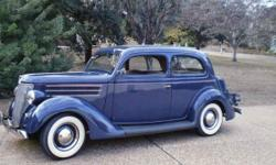 Very clean, straight, rust free, 1936 Ford Tudor in Washington Blue. Corvette engine. Only 500 miles since rebuild. Perfect as is or a great vehicle for hot rod modifications.
