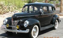 1940 Ford Deluxe Sedan, Full restoration including paint and chrome, Flathead V8, LeBaron Bonnie interior, Firestone White Walls, Dual exhaust, Grill guard, Fog lamps, Spotlight, Other extra's, NO rust, Garage kept, Runs great and drive great!