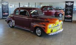 1946 Ford Super Deluxe coupe with chevy 350 engine 4 bolt main, turbo 350 transmission, rear axel assy 3.07 posi, edelbrock 4 bbl carburetor, American Racing wheels, power steering, power disc brakes electric wipers, electric trunk release, dual