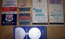 1951 1954 1955 1956 1957 1980 Pontiac Matchbook Covers $6.00 ea also have more $2.00 -$6.00ea.