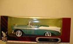 """1:18 1956 Chevrolet Bel Air Convertible Road Signature ! """"NEW"""" Still Mounted In The Original Box~Sharp Blue & White Colors !! Opening Hood & Doors,Detailed Interior & chassis w/Steerable Front wheels !!! Gangster Whitewall Tires,Detailed Engine & One"""