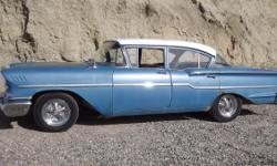 We have a beautiful 1958 Chevy Delray 4 door sedan for sale. It has an original 283 V8 2 barrel carborator. The generator was replaced w/ an alternator. New Michelin tires, New stereo w/ Sirus F.M. C-D player. The car runs and is very straight no body