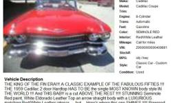 1959 Cadillac Cadillac Coupe , Call for mileage Address: Sarasota, FL 34238 View our website: www.freerek15.com Notes: THE KING OF THE FIN ERA!!! A CLASSIC EXAMPLE OF THE FABULOUS FIFTIES !!! THE 1959 Cadillac 2 door Hardtop HAS TO BE the single