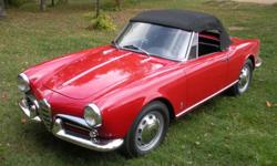 1960 Alfa Romeo Giulietta Spider WITH 62,900 miles. Matching numbers.Red with black interior from new.The car has all its original knobs, handles and interior trim. It also has all five original Boranni rims with very good Dunlop tires.In all, this is a