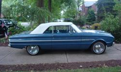 """1963 Ford Falcon Futura-Convertible-completey restored-260 V-8 dual exhaust-14"""" chrome wheels-Only serious inquiries only please. 412-344-1117."""
