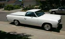 CLEAN WHITE 67 EL CAMINO WITH A CRATED 350 ENGINE WITH LESS THAN 45,000 MILES. ELDERBROCK HEADS, ELDERBROCK CARBURATOR, NEW PAINT JOB, CLEAN INTERIOR, CUSTOM HARD COVER WITH PAINTED BED LINER. NEW TIRES. MUST SEE TO APPRECIATE.