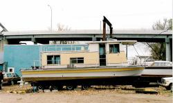 HOUSEBOAT 1969 34' Deep V Thunderbird Catalina houseboat. 75% restored. Rebuilt twin 318 Chrysler V8 outdrives, full reframed deck, cabin and sun decks. Includes 12,000# hydraulic lift & 4 axle 25,000 capacity trailer. Have about $39,000 invested. - See