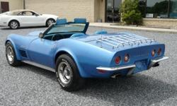 This 4spd Corvette Stingray from 1970 is perfect for someone looking for a fun project/driver! The Mulsanne blue exterior and blue interior are an extremely popular color combination in the chrome bumper era vettes.  This C3 Corvette Stingray