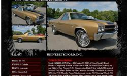 Chevrolet Custom El Camino V8 SS 396 Automatic Autumn Gold 74904 8 Cylinder1970 RHINEBECK FORD, INC. 845-876-4440